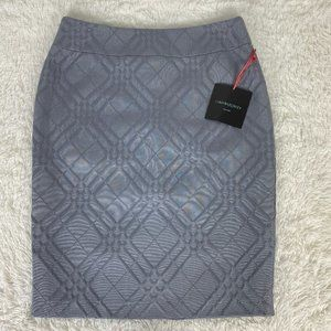 Cynthia Rowley Gray Geometric Office Pencil Skirt